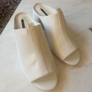 Zara White Leather Mules
